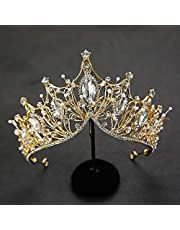 Baroque Queen Crown, Rhinestone Wedding Tiaras and Crown for Bride Handmade Crystal Headband Tiara for Women and Girls - Wedding Halloween Faire Costume Birthday Music Festival Hair Accessories (Gold)