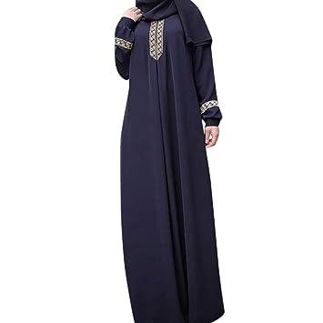 fe47155cf5e5a Amazon.com: Snowfoller Women's Muslim Kaftan Long Sleeve Abaya ...