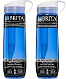 Brita Hard Sided Water Bottle With Filter, Blue, 23.7 Ounce (Pack of 2)