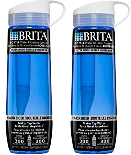 Brita Hard Sided Water Bottle With Filter, Blue, 23.7 Ounce (Pack of 2) by Brita
