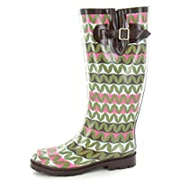 Spot On Womens/Ladies Zig Zag Pattern Rubber Wellington Boots