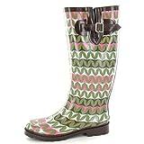 Spot On Womens/Ladies Zig Zag Pattern Rubber Wellington Boots (7 US) (Green)