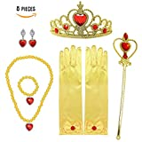 Princess Belle Gift Set 8 Pieces Yellow Dress Up Christmas Party for Girls Princess Crown Tiara Wand Neckless Gloves for Kids Present Prime Dress up Accessories Costume