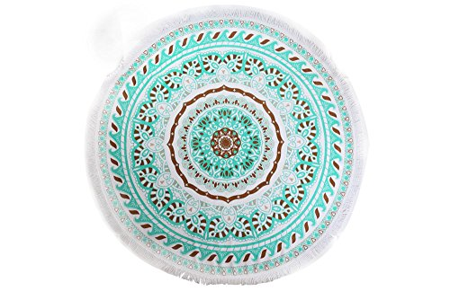 ANswet Superior Manual Beaded Tassel 100% Cotton 59 inches Round Beach Towel Throw Tapestry Gypsy Tablecloth Yoga Mat 900 Grams of cut velvet Super Soft (green court)