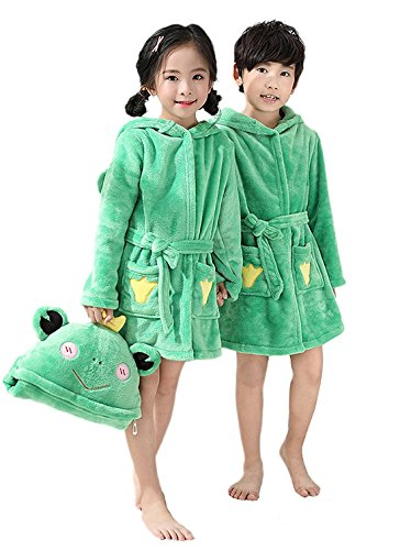 Toddler Bath Robe Girls Boys Fleece Hooded Bathrobe Kids Animal Pajamas Children's Sleepwear Toddler Plush Kimono (Tag120: 3T-4T, Green -