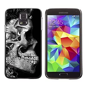 Licase Hard Protective Case Skin Cover for Samsung Galaxy S5 - Psychedelic Skull Painting