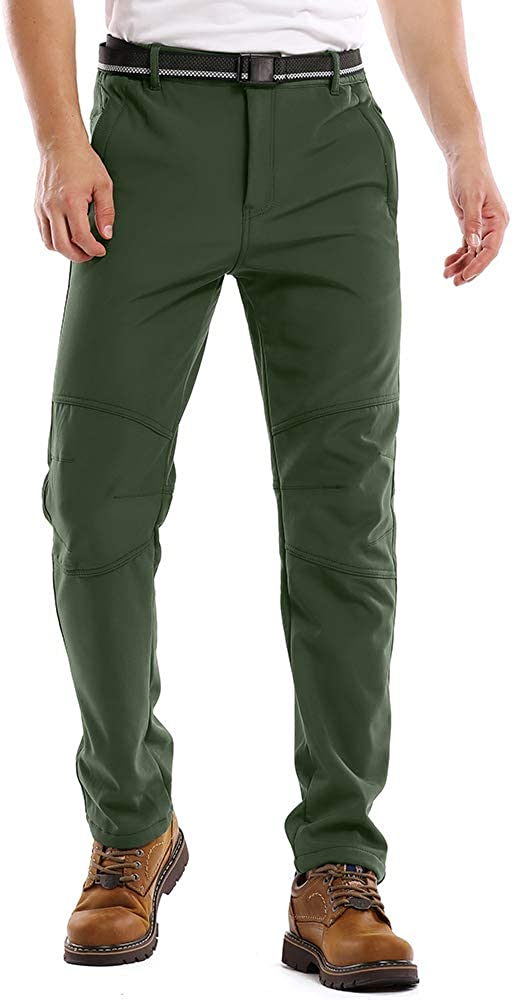 Fleece Lined Waterproof Windproof Ski Hiking Mountain Bottoms Mens Snow Pants Softshell Insulated Trousers