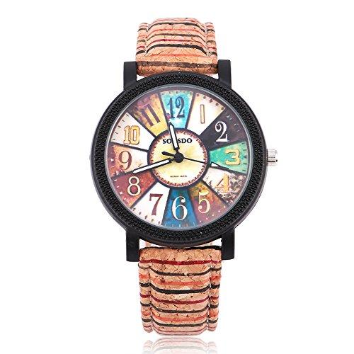 Watches for Men, Female Male Student Quartz Wrist Watch Round PU Strap Wristwatch (compass)