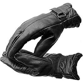 Batu Lee Men's and Women's Leather with Warm Inner Fur/Bike Riding Gloves (Black, Medium)