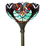 Tiffany Style Torchiere Light Floor Standing Lamp Wide 12 Tall 66 Inch Green Liaison Stained Glass Lampshade for Living Room Bedroom Antique Table Set S160G WERFACTORY