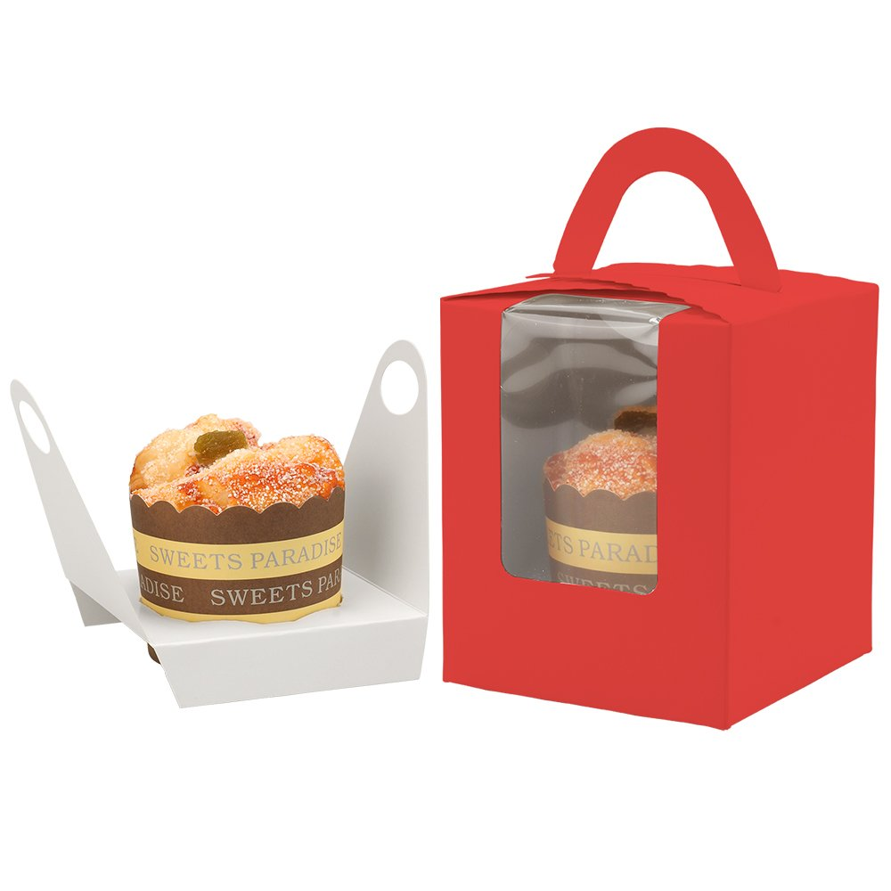 Kirakira Single Cupcake Boxes 50 Pack with Inserts Bakery Cupcake Boxes with Window and Handle Muffins Cupcake Carriers Cupcake Containers Holders-Red