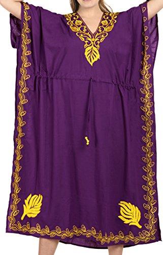 da notte caftano usura j809 del LEELA lungo donne rayon caftano progettista vestito Viola delle spiaggia scollo profondo LA 0Fzq8x