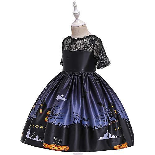 ZWEILI Halloween Princess Dress Costume Cartoon Satin Print Children Show Dress(Black,M)