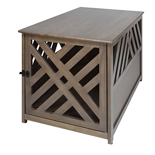 (Casual Home Lattice Wooden Pet Crate End Table)