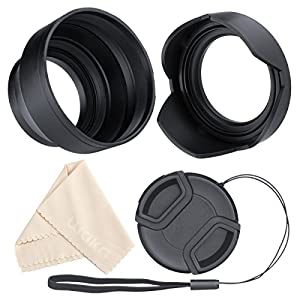Lens Hood Set, Reversible Tulip Flower + 3 Stages Collapsible Rubber Lens Hood + Center Pinch Lens Cap with Cap Keeper Leash + Microfiber Cleaning Cloth (55MM)