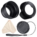 waka Lens Hood, 55mm Camera Lens Hood Set, Reversible Tulip Flower + 3 Stages Collapsible Rubber Lens Hood + Center Pinch Lens Cap with Cap Keeper Leash + Microfiber Cleaning Cloth