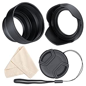 Lens Hood Set, Reversible Tulip Flower + 3 Stages Collapsible Rubber Lens Hood + Center Pinch Lens Cap with Cap Keeper Leash + Microfiber Cleaning Cloth (67MM)