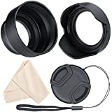 Lens Hood Set, Reversible Tulip Flower + 3 Stages Collapsible Rubber Lens Hood + Center Pinch Lens Cap with Cap Keeper Leash + Microfiber Cleaning Cloth (72MM)