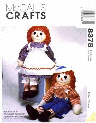 (McCall's 8378 Crafts Sewing Pattern Stuffed Raggedy Ann and Andy Doll with Clothes Apron and)