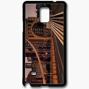 Unique Design Fashion Protective Back Cover For Samsung Galaxy Note 4 Case Bridge Road Building Black