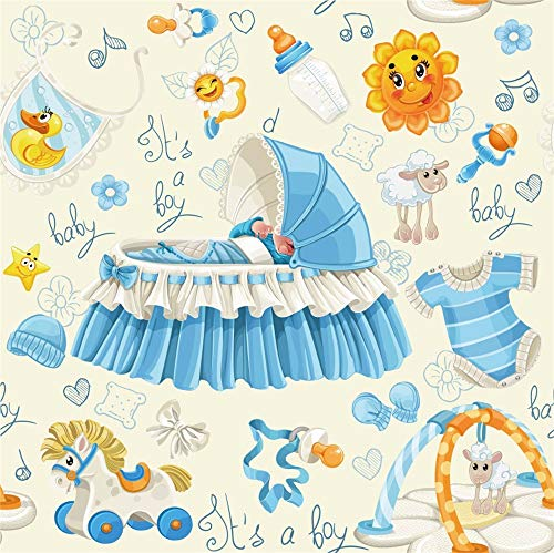 Laeacco 6x6ft Cartoon Boy Baby Shower Backdrop Vinyl It's a Boy Blue Crib Sleeping Baby Jumpsuit Feeder Rocking Horse Bib Illustration Background Boy Baby Shower Birthday Party Banner