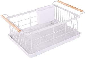 BRIAN & DANY Kitchen Dish Drainer, Drying Rack with Full-Mesh Storage Basket, Wooden handle, Removable Plastic Cutlery Tray