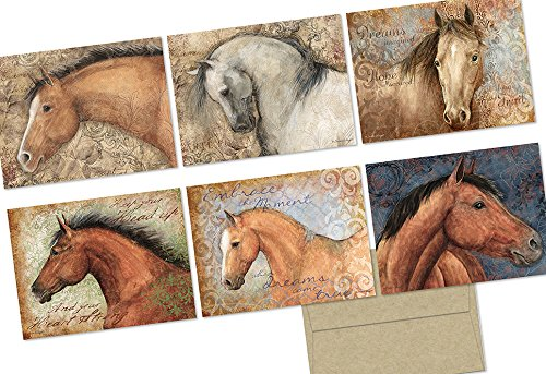 (Honorable Horses - 36 Note Cards - 6 Designs - Blank Cards - Kraft Envelopes Included)