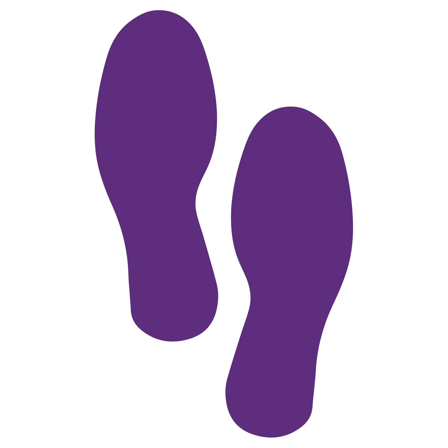 LiteMark 9 Inch Purple Footprint Decal Stickers for Floors and Walls - Pack of 12 (6 Pairs)