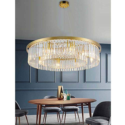 zZZ Nordic Simple LED Energy-Saving Crystal Glass Chandelier Postmodern Light Luxury Personality Creative Living Room Lighting Model Room Dining Room Bedroom Chandelier Warm (Size : 5518cm) (The Crystal Chandeliers Light Up The Paintings)