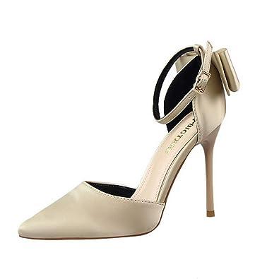 d79a9526958b56 Fanessy Chaussure Fermé Femme Escarpins Talon Haut Aiguille Boucle Noir Rouge  Bride Talon de 8cm Grande