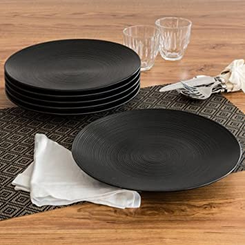 Simple and Unique Matte Swirl Dinner Plates Black Set of 6 by Better Homes & Amazon.com: Simple and Unique Matte Swirl Dinner Plates Black Set ...