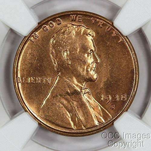 (1938 S Lincoln Cent Choice Brilliant Uncirculated Penny MS65RD NGC)