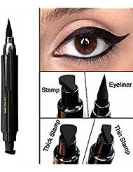 Waterproof Eyeliner Stamp Liquid Eyeliner Pen Easy to Makeup Tool Cat Eye Wing Eyeliner Stamps Set 1 Second Eye Make Up Dual Headed Wing Stamp Eyeliner Pen Pencil by Lemoncy Thick
