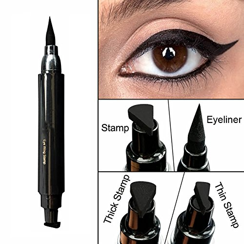 Easy Cat Makeup (Waterproof Eyeliner Stamp Liquid Eyeliner Pen Easy to Makeup Tool Cat Eye Wing Eyeliner Stamps Set 1 Second Eye Make Up Dual Headed Wing Stamp Eyeliner Pen Pencil by Lemoncy Thick)