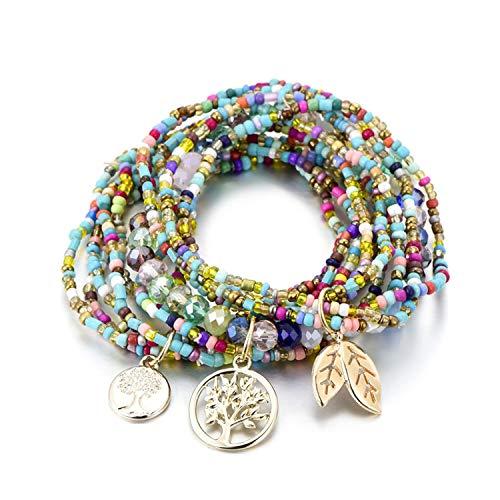 SHILINWEI Bohemian Style Life of Tree Leave Charm Beads Bracelets for Women Boho Multilayer Crystal Seed Bead Bracelet Jewelry Party -