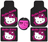 Hello Kitty Collage Hot Pink Sanrio Front & Rear Car Truck SUV Seat Rubber Floor Mats and Steering Wheel Cover Set - 5PC