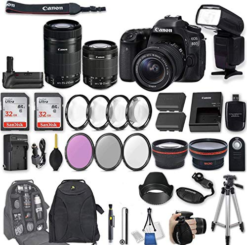 Canon EOS 80D DSLR Camera with EF-S 18-55mm f/3.5-5.6 is STM Lens + EF-S 55-250mm f/4-5.6 is STM Lens + 2Pcs 32GB Sandisk SD Memory + Universal Flash + Battery Grip + Filter & Macro Kits + More (Canon 5d Mark 3 Best Price)