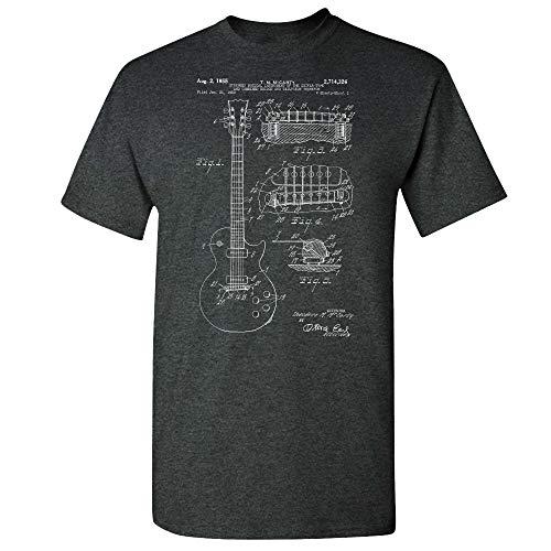 Gibson Les Paul McCarty Guitar Patent T-Shirt, Guitarist Gift, Music Studio, Classic Rock, Musician Gift, Guitar Player Dark Heather (Large)