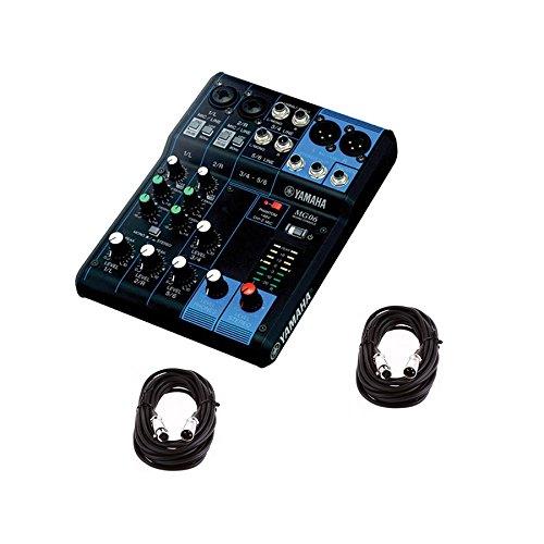 Yamaha MG06 6-Input Stereo Mixer w/ (2) 20' XLR Mic Cables - Bus Mic Line