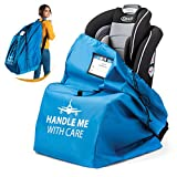 Car Seat Travel Bag for Airplane Baby Carseat Gate Check Bag   Universal Size - Infant Car Seat Bags for Air Travel Waterproof - 600D Nylon Fabric W/Adjustable Strap (Blue)