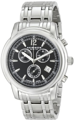 Akribos XXIV Men's AK692SSB Ultimate Swiss Quartz Chronograph Black Dial Silver-tone Stainless Steel Bracelet Watch