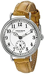 Akribos XXIV Women's AK828SSBR Quartz Movement Watch with Silver Dial and Cognac Leather Strap