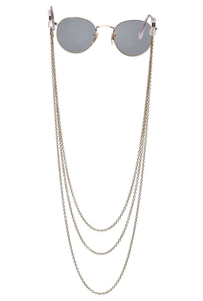Sintillia Chain Lace Statement Sunglass Strap, Glasses Chain, Eyeglass Cord, Gold (Gold with Black Attachments)