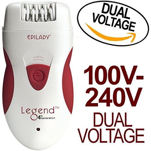 Epilady-Legend-4th-Generation-Rechargeable-Epilator-With-Dual-Voltage-100-240V-Power-Supply-Adapter-and-International-Two-Prong-Round-Pin-Plug-Adapter-Travel-Pack