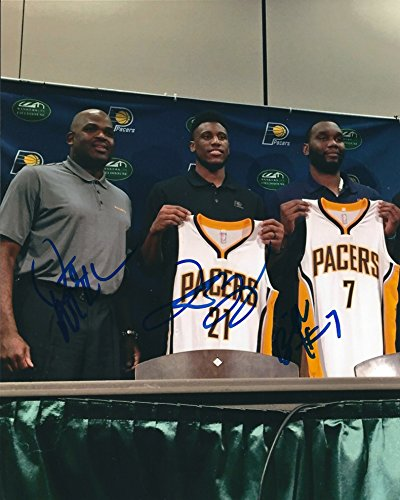 Autographed Nate McMillan, Thaddeus Young & Al Jefferson 8x10 Indiana Pacers Photo