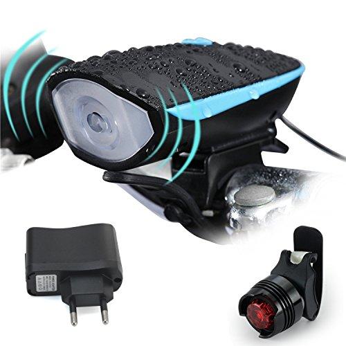 Beautystar Wiederaufladbare LED Fahrradlampe, LED Frontlicht und Rücklicht Für Radfahren, 550lm , 3 Licht-Modi, Fahrradscheinwerfer, Fahrradlicht, Fahrradbeleuchtung Set (1 USB-Kabel &1 Ladegerät)