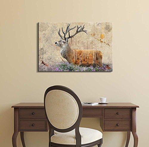 Double Exposure Rustic Deer in a Field of Lavender