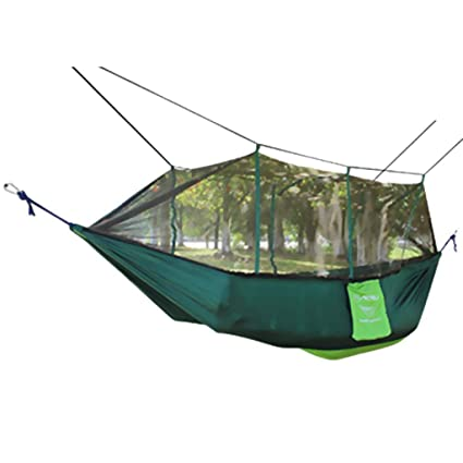FashLady Green: Double Hammock Tree 2 Person Patio Bed Swing Outdoor with Mosquito Net Green