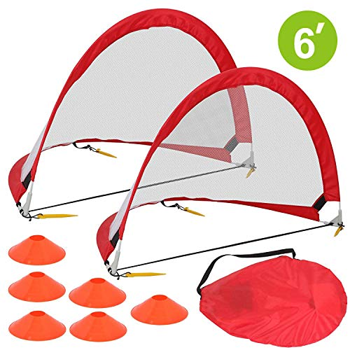 HomGarden Pop Up Soccer Goals Set of 2 Portable Soccer Target Nets for Backyard, Park or Training w/6 Cones & Carry Bag - Practice Soccer Goal Football Nets for Kids