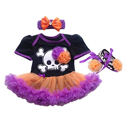 Newborn Baby Girls My 1st Halloween Tutu Outfit Pirate Skull Bodysuit Romper Dress with Ruffle Tulle Skirt + Bow Headband + Crib Shoes First Birthday Clothes Party Costume 3Pcs Set Black 6-12M -